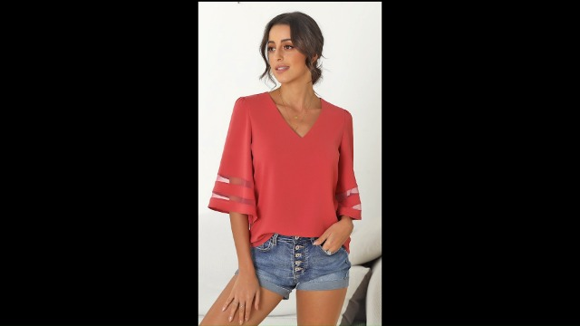 luvamia Women's Casual V Neck Blouse 3/4 Bell Sleeve Mesh Panel Shirts Loose Top 3