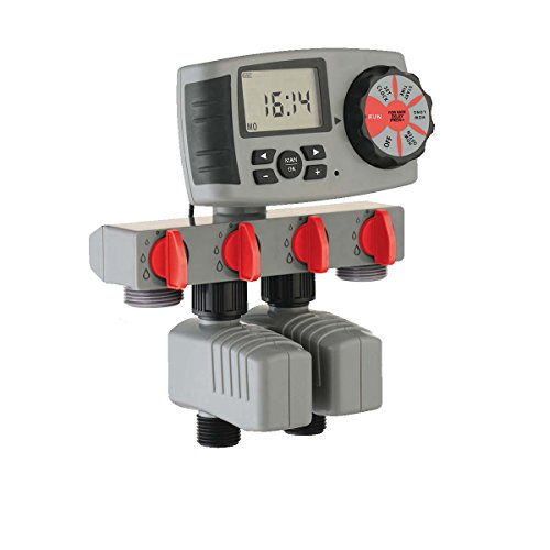 Yardeen 4 Outlet Smart Water Hose Timer Automatic Irrigation System with 2 Solenoid Valve, Gray