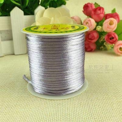 BeesClover 100meter Soft Satin Rattail Silk Macrame Cord Nylon Kumihimo Shamballa for DIY Chinese Knot Bracelet Necklace Jewelry Finding Gray