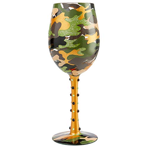 Enesco 6007477 Designs by Lolita Camo Artisan Wine Glass, 15 Ounce, Multicolor