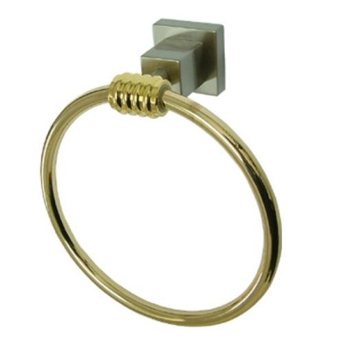 Kingston Brass BAH4644SNPB Fortress 6-Inch Towel Ring, Satin Nickel and Polished Brass - Brass 6 Inch Towel Ring