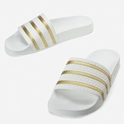 adidas Adilette Weiss Gold, Größe:UK 10 (44 2/3): Amazon.de ...