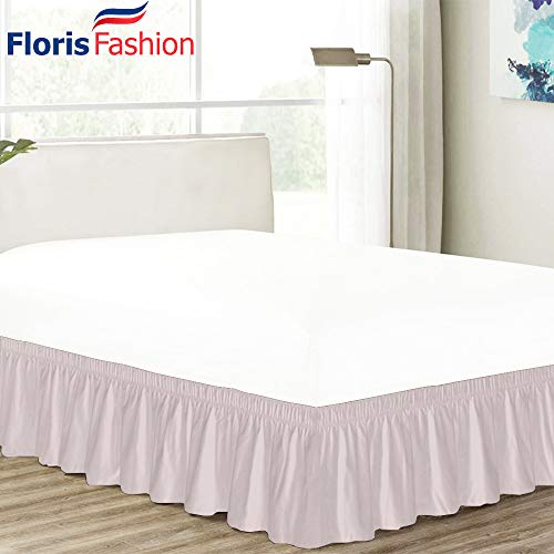 Floris Fashion King 300TC 100% Cotton Pink Solid Elastic Dust Ruffled Never Lift Mattress (Three Fabric Side) Wrap Around Bedskirt Solid 13