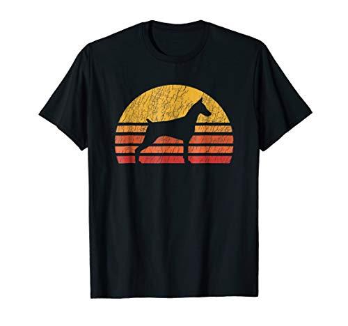 Distressed Retro Sun Silhouette Doberman Pinscher T-shirt