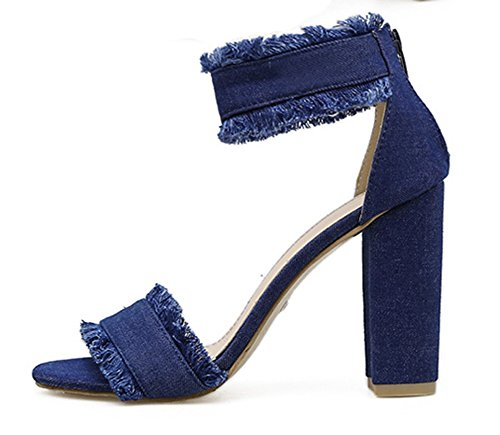 Aisun Damen Basic Denim Quaste Blockabsatz Knöchelriemchen Sandale mit Reißverschluss Dunkelblau
