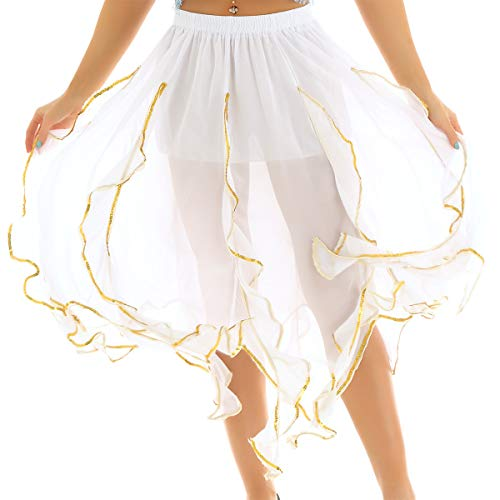 (inlzdz Women's Sparkle Sequin Polka Dots Latin Ballet Wrap Over Scarf Dance Leotard Tutu Skirt White&Gold Trim One Size)