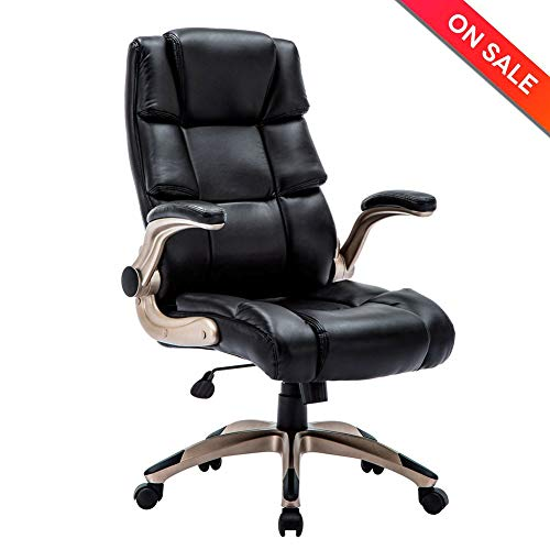 Back Adjustable Leather - KADIRYA Ergonomic High Back Leather Office Chair - Adjustable Padded Flip-up Arms Executive Computer Desk Chair
