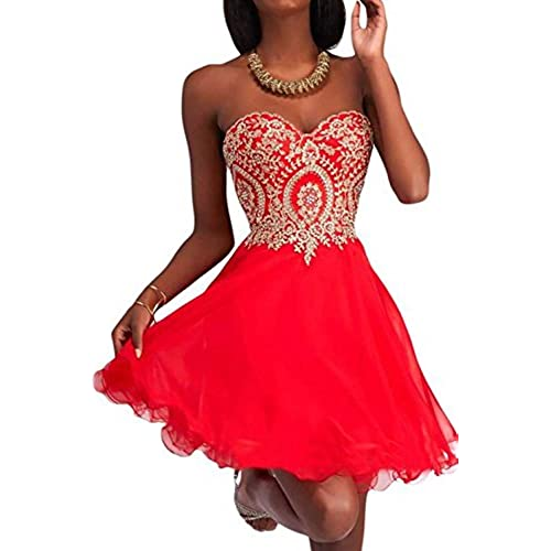 Manfei Short Prom Dress Bridesmaid Party Gowns Gold Appliques Red One Size 4