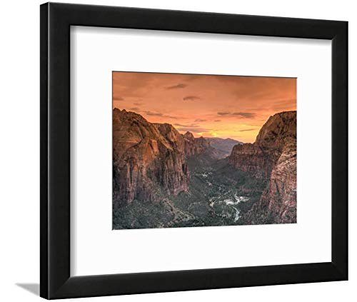 ArtEdge USA, Utah, National Park, Zion Canyon from Angel's Landing by Michele Falzone, Wall Art Framed Print, 9x12, Black Soft White Mat