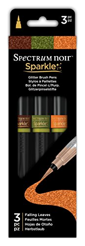 Spectrum Noir SPECN-SPA-FALL3 3 Piece Sparkle Fine Glitter Brush Pens Set, Falling Leaves, Pack of 3 ()