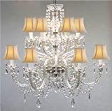 Cheap MURANO VENETIAN STYLE ALL-CRYSTAL CHANDELIER WITH WHITE SHADES!