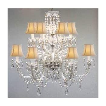 Murano venetian style all crystal chandelier with white shades murano venetian style all crystal chandelier with white shades aloadofball Images