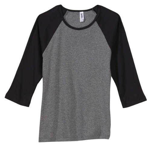 Womens Fitted Baby Rib Tee - Bella + Canvas Ladies' Baby Rib 3/4-Sleeve Raglan T-Shirt, Deep Hthr/Blk, Small
