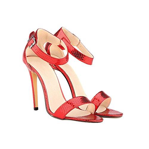 Haodasi Womens Crocodile pattern 11CM Buckle High Heels Stilettos Sandals Shoes Red ZJxr8Ha7Zu