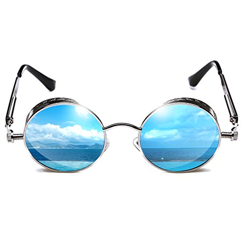 ROCKNIGHT Polarized Circle Sunglasses For Men Women Mirrored Blue Sunglasses