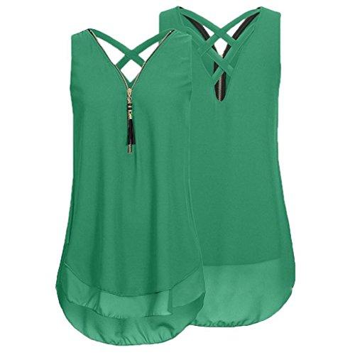 Unterhemd Ausschnitt Sommer Elegant Armeegrün Reißverschluss aushöhlen Tank Chiffon zurück Tops Hemdbluse Frauen Unregelmäßigkeit Vorne Bluse Shirt Rovinci Damen Ärmellos V T Weste xRqBBXA