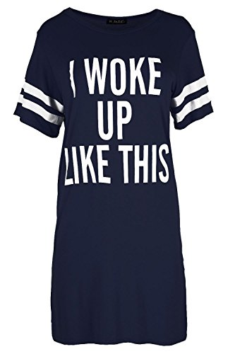 Be Jealous Women's Baggy Dress Cap Sleeve I Woke Up Like This Jersey T Shirt Plus Size (US 20/22) Navy