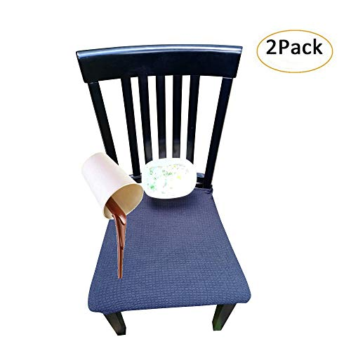 Waterproof Dining Chair Cover Protector – Pack 2 – Perfect for Pets, Kids, Elderly, Restaurants, Party – Machine Washable, Snugly Fit, Removable, Many Color Choices, Clean The Mess Easily (Black)