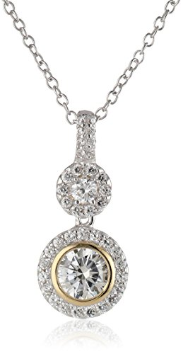 Plated Sterling Silver Cubic Zirconia Two Tone Halo Pendant Necklace, 18