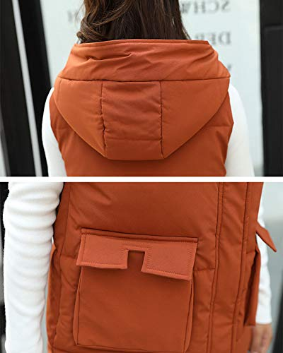 Warm Sleeveless Coat Gilet Vest Women Down Jacket Thicker Quilted Orange Overcoat tqwS61d