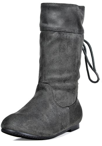 DREAM PAIRS Girls Toddler Klace Grey Faux Suede Knee High Bo