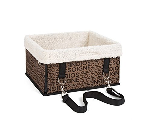 Large, Black Pet Dog Car Carrier Booster Seat Waterproof Front Seat Collapsable Basket with Fleece Mat for Small Animal Cats