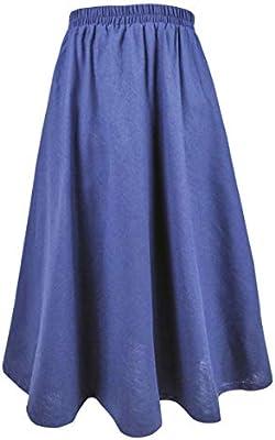 Falda larga elegante de lino y algodón para mujer azul azul 80CM ...