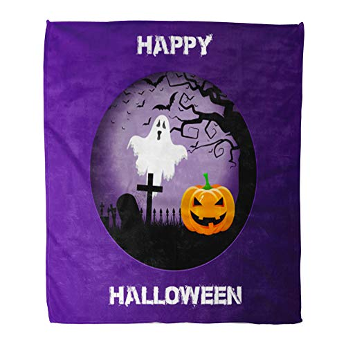 Emvency Throw Blanket Warm Cozy Print Flannel Bats Halloween Spooky Landscape in Cutout Blood Evil Comfortable Soft for Bed Sofa and Couch 50x60 Inches ()