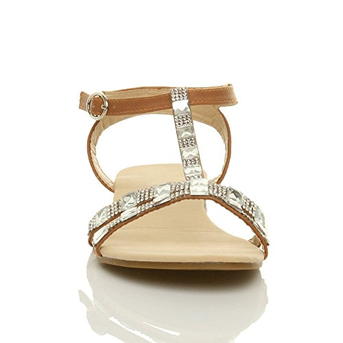 T Size Tan Summer Ajvani Women Flat Diamante Bar Sandals gxWHCzwZ
