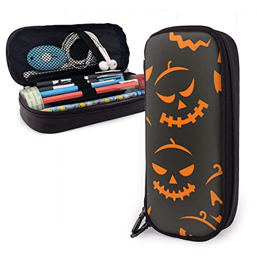 Asimence Scary Halloween Leather Pencil Case Pouch Zippered Pen Box School Supply for Students,Big Capacity Stationery Box Travel Makeup Pouch Bag for Girls Boys and Adults]()