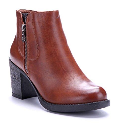 Schuhtempel24 Damen Schuhe Klassische Stiefeletten Stiefel Boots Blockabsatz Reißverschluss 8 cm Camel
