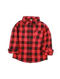 Jwhui Baby Boys Shirts Plaid Children Clothes Tops Kids Cotton Girl Blouse 2-9Year
