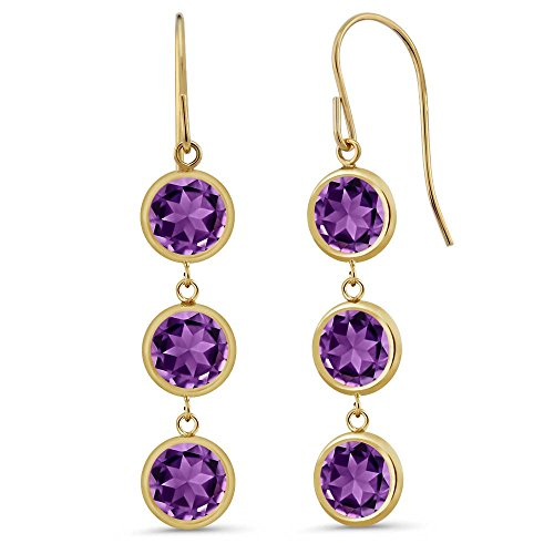- Gem Stone King 2.70 Ct Round Purple Amethyst 14K Yellow Gold Bezel 1 Inch Dangle Earrings