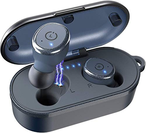 TOZO T10 Bluetooth 5.0 Wireless Earbuds with Wireless Charging Case IPX8 Waterproof TWS Stereo Headphones in Ear Built in Mic Headset Premium Sound with Deep Bass for Sport Blue(Renewed)