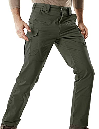 CQR Men's Flex Stretch Tactical Work Outdoor Operator Rip-Stop Trouser Pants EDC, Flexy Cargo(tfp513) - Green, 42W/30L (Best Travel Gear For Women)