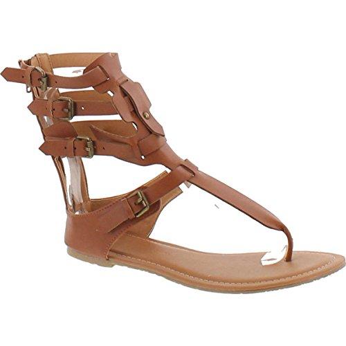 - Wild Diva Tanaya-540 Women's T-Strap Buckle Gladiator Back Zip Flat Thong Sandal,Cognac,7