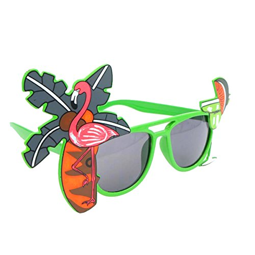OULII Hawaiian Flamingo Eyeglasses Coconut Tree Juice Glasses for Summer Beach Beer Party Favors (Green)