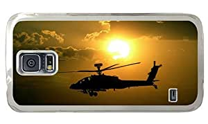 Hipster retro Samsung Galaxy S5 Cases apache helicopter sunset PC Transparent for Samsung S5