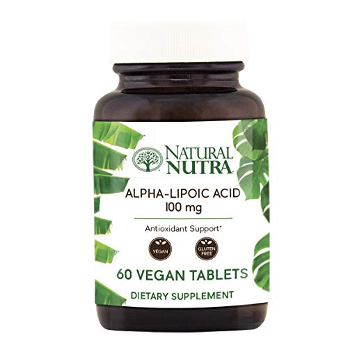 Natural Nutra R-Alpha Lipoic Acid (Alfa-Lipoic), with R-Fraction ALA, Antioxidant and Blood Sugar Support, 100 mg, 60 Vegan and Vegetarian Tablets