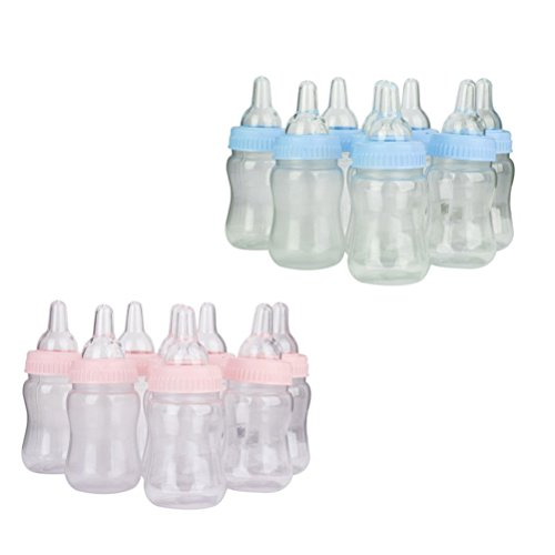 NUOLUX 12pcs Baby Bottle Favors Bottle Bank Gift Set for Showers Parties Birthday (Pink)