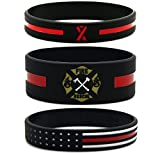 Inkstone (6-Pack Firefighters' Thin Red Line Silicone Wristbands - Jewelry Gifts Accessories for Fire Fighters
