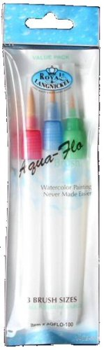 Royal Brush AQFLO-100 Aqua-Flo Nylon Hair Watercolor Paint Brush Set, Assorted Size (Pack of - Shopping Hyatt