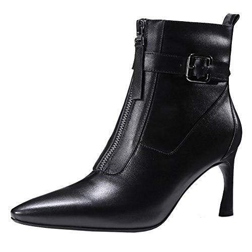 Women's Leather Shoes,MERUMOTE 2017 New Cone Heels Shoes Buchkle Ankle Boots for Spring Winter Daily Wear Black