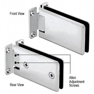 Satin Chrome 135 Glass - Satin Chrome Adjustable Standard Wall Mount Grande Series Hinge