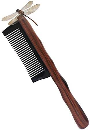 Hair Comb, Kabukalli Wood Handle Buffalo Horn Fine Tooth Hair Brush, No Static Detangling Natural Aroma Wooden Combs, Gift for Men, Women and Kids (Wood+ Horn)