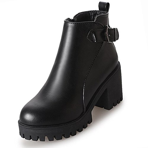 Heel HSXZ PU for Chunky Boots Black Ankle Winter ZHZNVX Boots Shoes Women's Fall Comfort Black Toe Booties Round Casual qBgwpAz