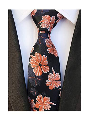 Men's Orange Navy Floral Wholesale Groomsman Silk Ties Wedding Casual Neckties