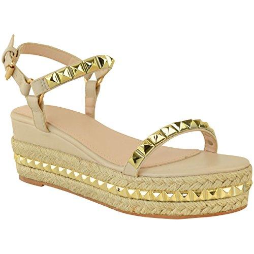 Fashion Thirsty Womens Studded Low Wedge Espadrille Sandals Platform Size (Stud Platform Sandal)