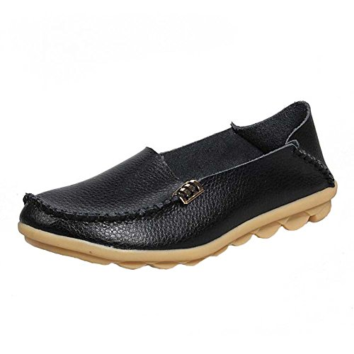ANDAY Womens Soft PU leather Flats Doug Mammy Shoes Drive Loafers Black JFzZXfT