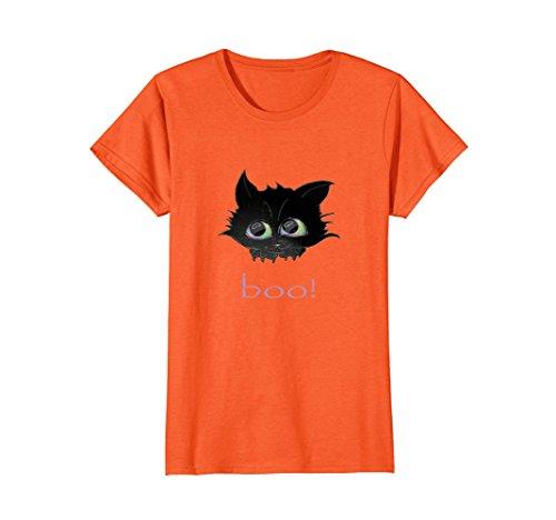 Womens Handdrawn Black Cat Boo Halloween Teen Girl T Shirt Small (Halloween Cat Sketch)